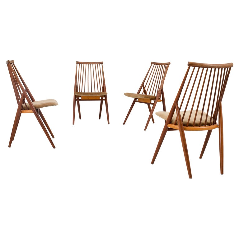 Set of 4 'Flamingo' Chairs by Thea Leonard for Nassjo Stolefrabrik, Sweden, 1960 For Sale