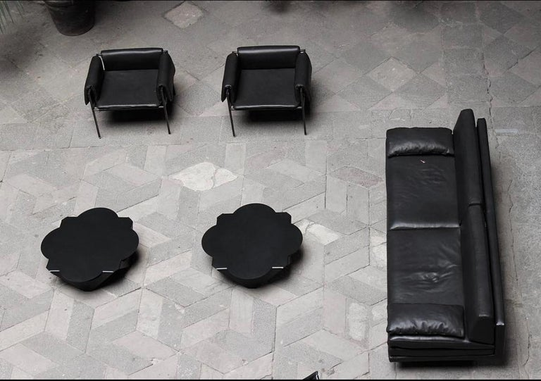 Modern Set of 4 Flow Blackened Steel and Leather Armchair by ATRA For Sale