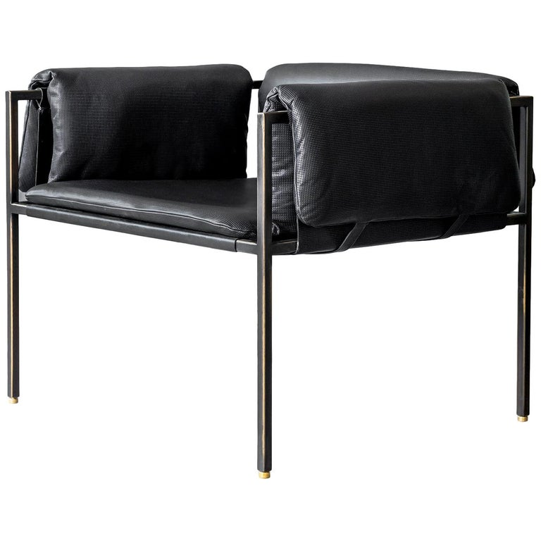 Mexican Set of 4 Flow Blackened Steel and Leather Armchair by ATRA For Sale