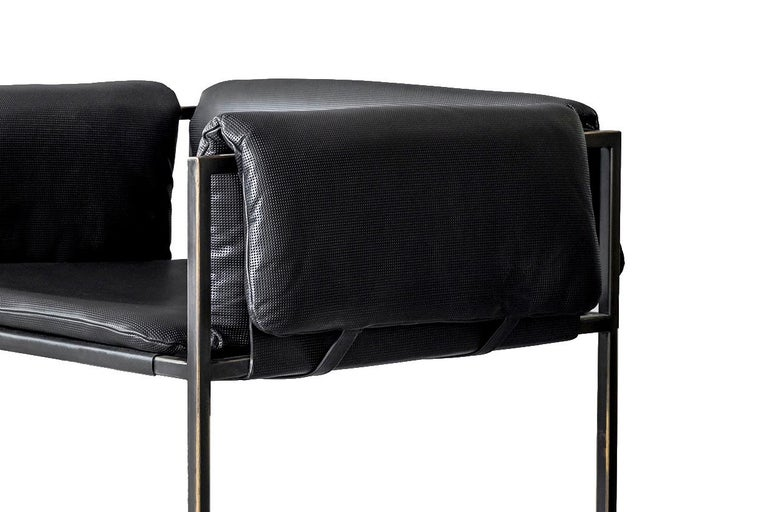 Contemporary Set of 4 Flow Blackened Steel and Leather Armchair by ATRA For Sale