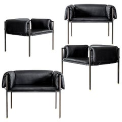 Set of 4 Flow Blackened Steel and Leather Armchair by ATRA