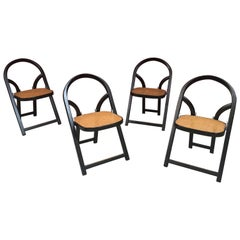 Set of 4 Folding Chairs Arca by Gigi Sabadin Created in 1974 for Crassevig