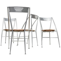 Set of 4 Folding Dining Chairs, Italy 1980s, Postmodern Design