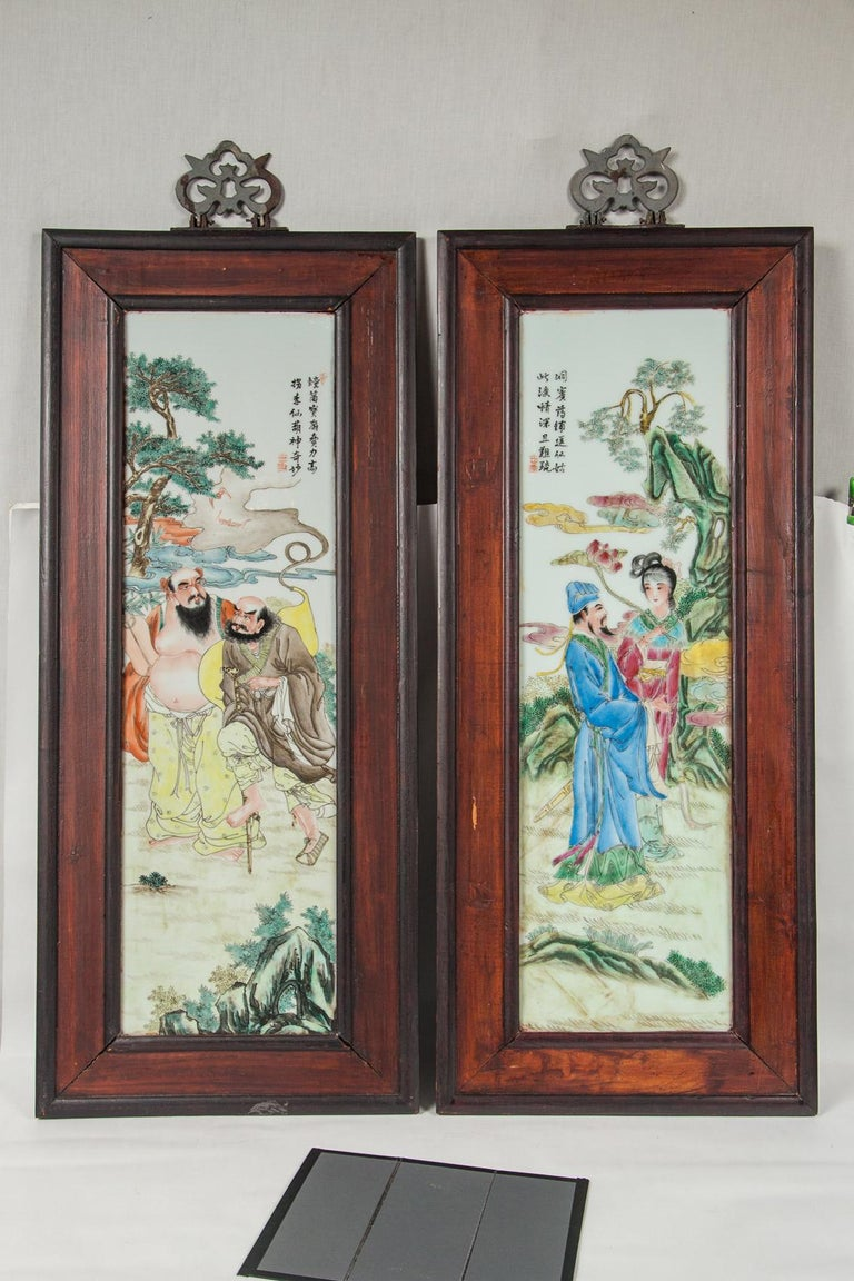 Set of 4 Framed Chinese Porcelain Plaques For Sale 2