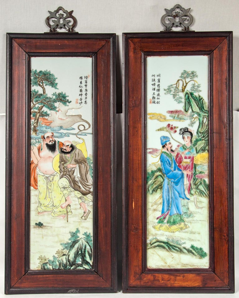 Set of 4 Framed Chinese Porcelain Plaques For Sale 3