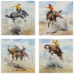 "Set of 4 Framed Original Watercolors ""Buckin' Broncs"" by Stanley Long"
