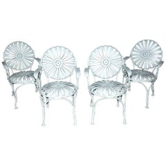 Set of 4 Francois Carre French Style Sunburst Garden Armchairs
