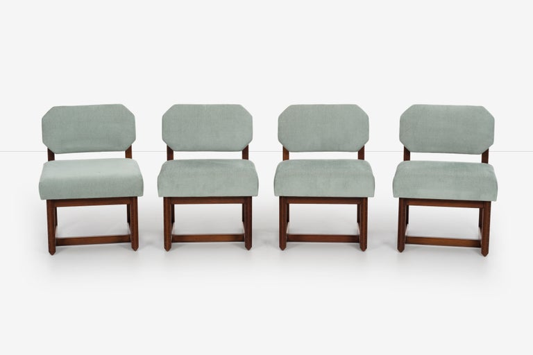 Set of 4 Frank Lloyd Wright Taliesin dining chairs, Heritage-Henredon Furniture. Manufactured 1955 model 2001 low chair. reupholstered with Great
