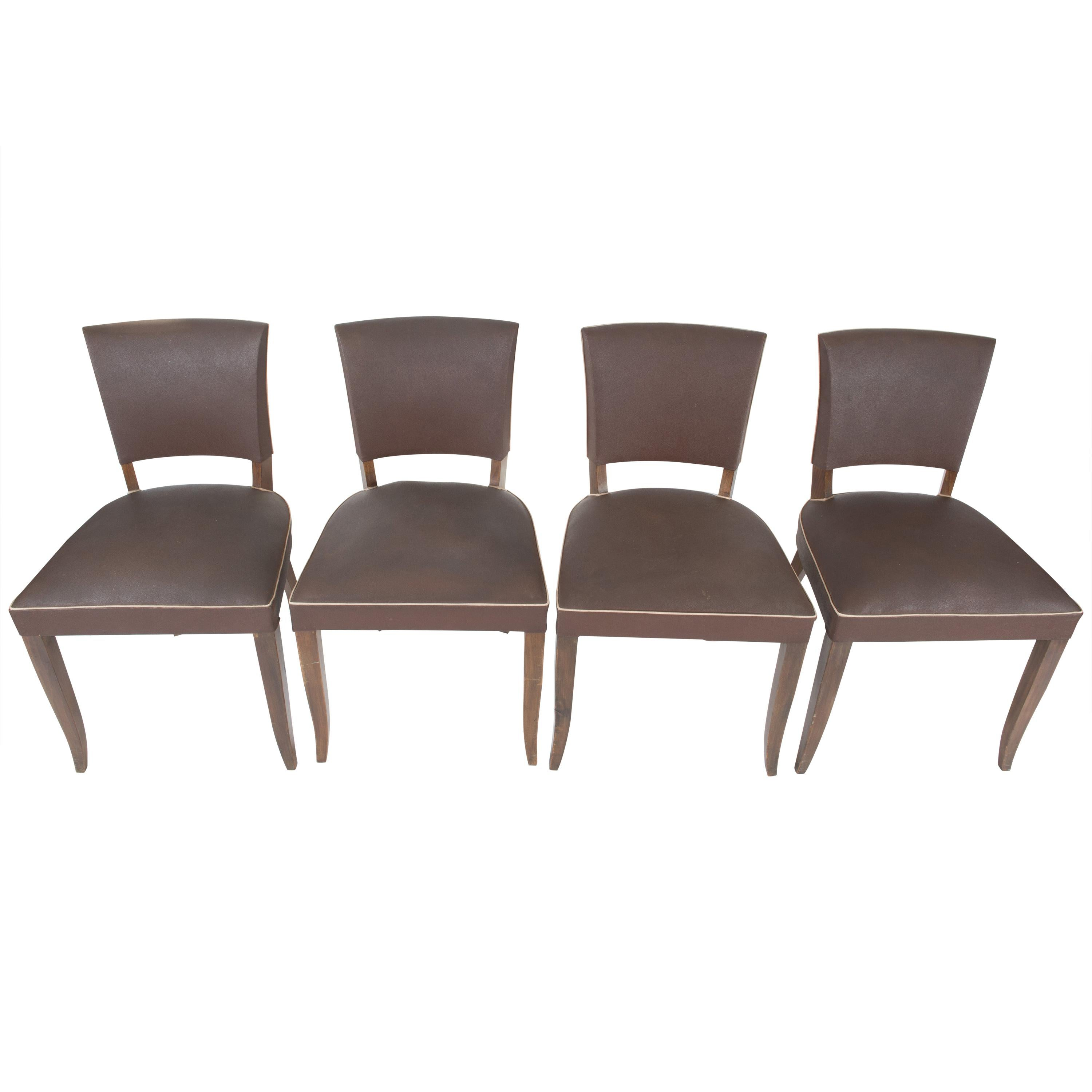 Set of 4 French 1950s Dining Chairs, Brown