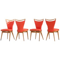 Set of 4 French Wooden Chairs with Red Faux Leather Cover, 1950s