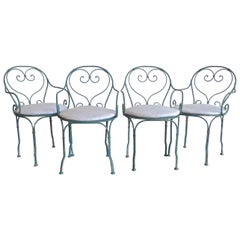 Set of 4 French 19th Century Painted Wrought Iron Bistro Armchairs with Cushions