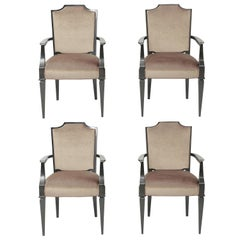 Set of 4 French Art Deco Beige Velvet & Black Satin Beech Armchairs, Circa 1940