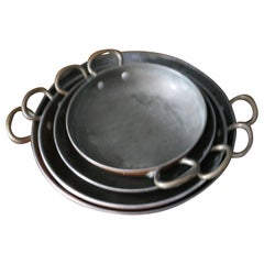 Set of 4 French Copper Skillet, Grattan Dishes