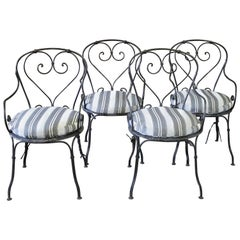 Set of 4 French Iron Bistro Armchairs with Outdoor Cushions