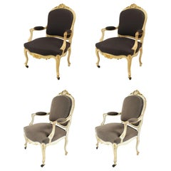 Set of 4 French Louis XV Purple Armchairs