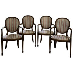 Set of 4 French Mahogany Balloon Back Carver Chairs, circa 1890