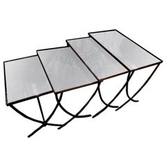 Set of 4 French Maison Baguès Style Brass Nesting Tables