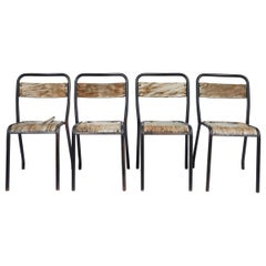 Set of 4 French Metal and Wood Chairs, circa 1920