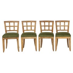 Set of 4 French Mid-Century Modern Cerused Oak Dining Chairs