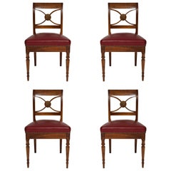 Set of 4 French Midcentury Leather Upholstered Chairs in Maison Jansen Manner