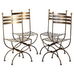 Set of 4 French Polished Steel and Brass Chairs