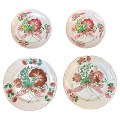 Set of 4 French Strasbourg Faience Chargers with Flower Decor