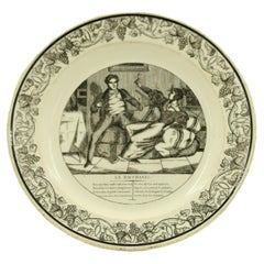 Set of 4 French Victorian Black and White Genre Scene Porcelain Plates