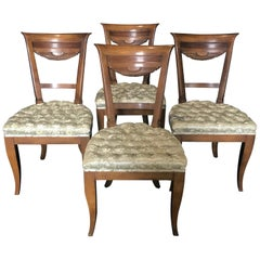 Set of 4 French Walnut Dining Chairs with Fan Backs