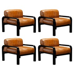 Set of 4 Gae Aulenti Leather and Steel Lounge Chairs for Knoll, Signed 1980