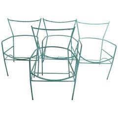 Set of 4 Garden Patio Poolside Chairs After Van Keppel Green