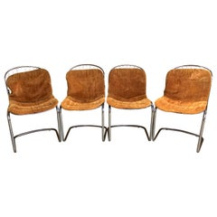 Set of 4 Gastone Rinaldi Chrome Dining Chairs with Original Cushions circa 1970s