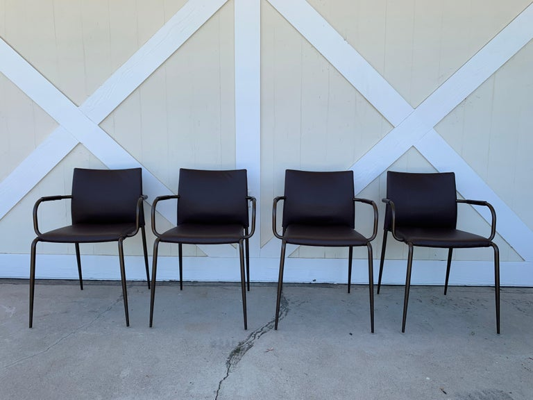 Mid-Century Modern Set of 4 Gazzella Armchairs by Tom Kelley for Enrico Pellizzoni For Sale