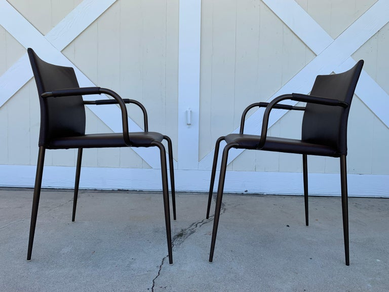 Metal Set of 4 Gazzella Armchairs by Tom Kelley for Enrico Pellizzoni For Sale