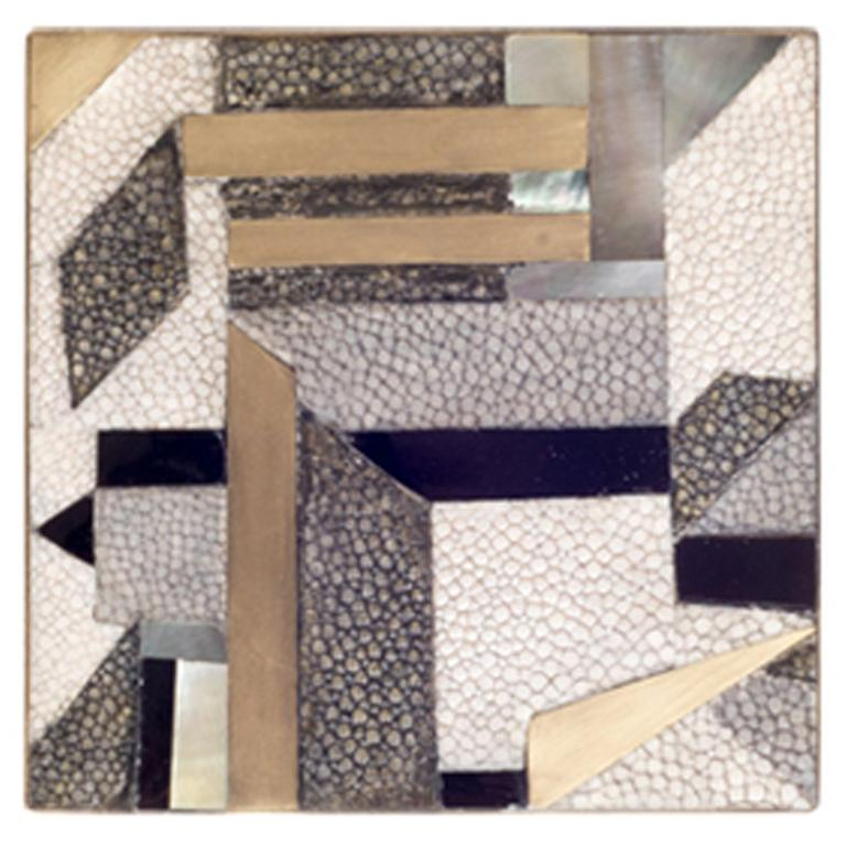 Set of 4 Geometric Coasters Inlaid in Shagreen, Shell and Brass by Kifu, Paris