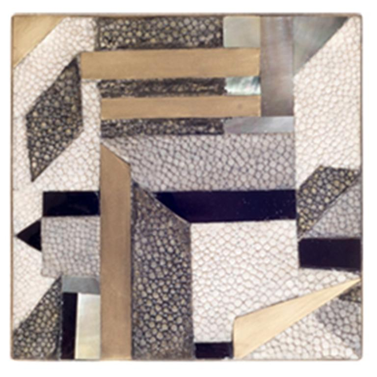 Set of 4 Geometric Coasters Inlaid in Shagreen, Shell and Brass by Kifu Paris