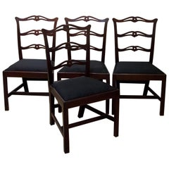 Set of 4 George III Ladder Back Side Chairs with Slip Seats