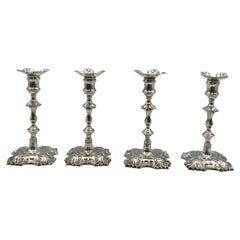Set of 4 Georgian Style Sterling Silver Candlesticks