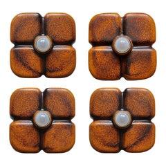 Set of 4 German Geometric Ceramic Wall Ceiling Lights Flush Mounts Sconces 1960s