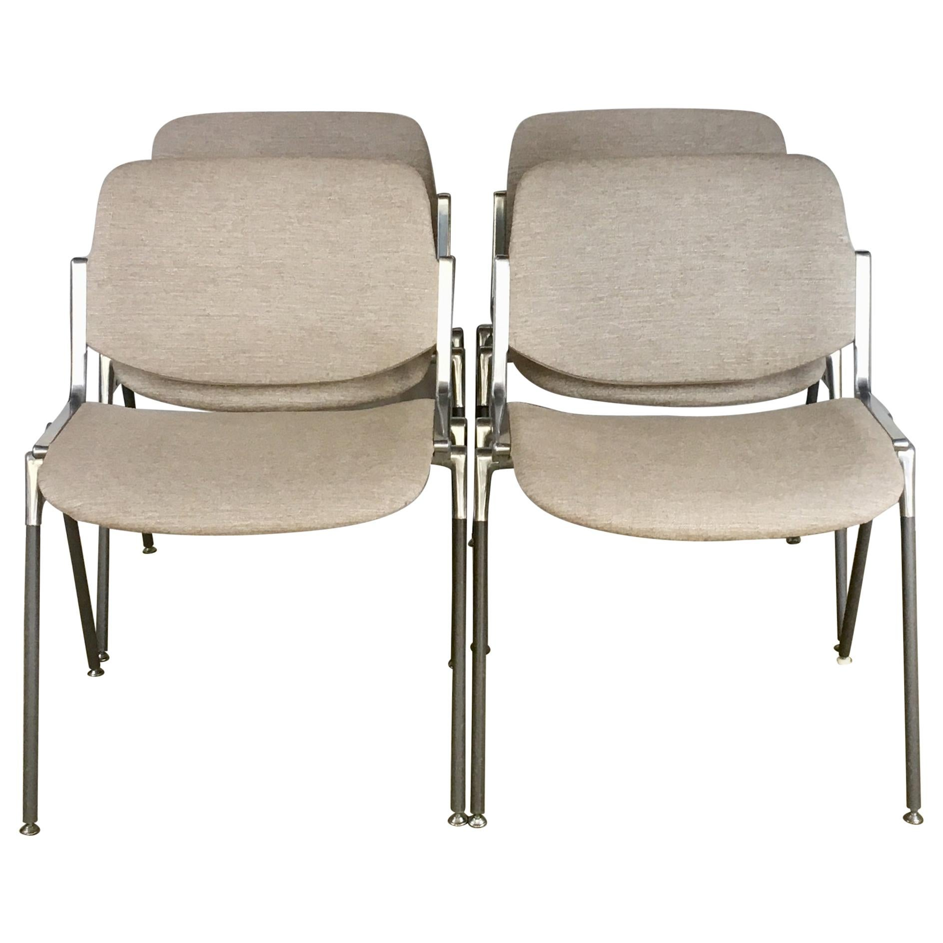 Set of 4 Giancarlo Piretti Stackable Chairs for Castelli, 1960s
