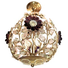 Set of 4 Gilt Lanterns with Glass Leaves and Amethyst Flowers. Sold Individually