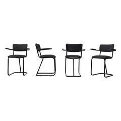 Set of 4 Gispen '207' Tubular Chairs with Acrylic Arm Rests