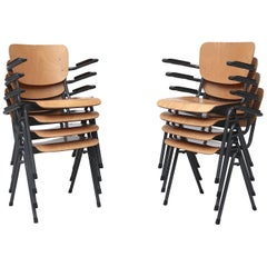 Set of 4 Gispen Style Plywood Stacking School Chairs with Arm Rests