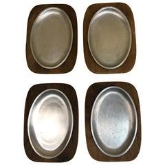 Set of 4 Gladmark Teak and Aluminum Plates
