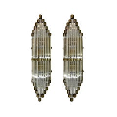 Set of 4 Glass Art Deco Sconces