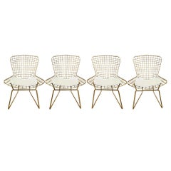 Set of 4 Gold Chrome Side Chairs in the Style of Harry Bertoia