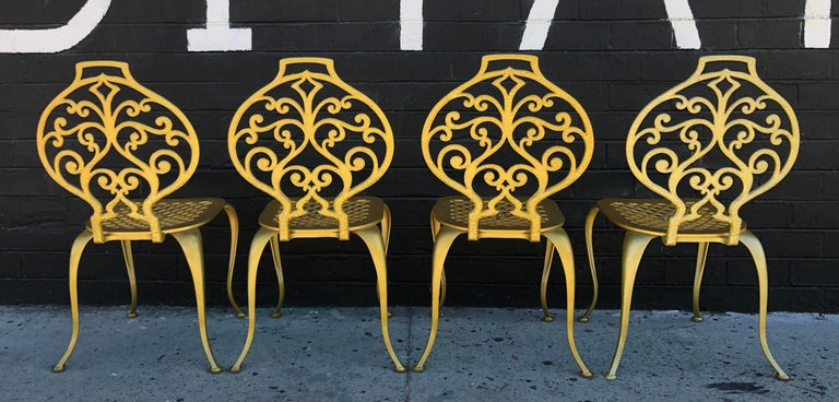 Hollywood Regency Set of 4 Gold Leafed Thinline Mfg Dining Chairs For Sale