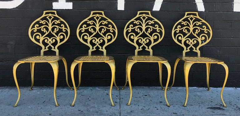 American Set of 4 Gold Leafed Thinline Mfg Dining Chairs For Sale