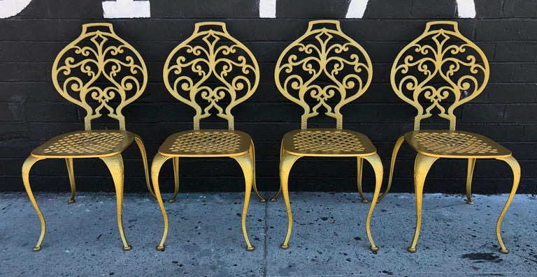 Set of 4 Gold Leafed Thinline Mfg Dining Chairs In Good Condition For Sale In Tempe, AZ