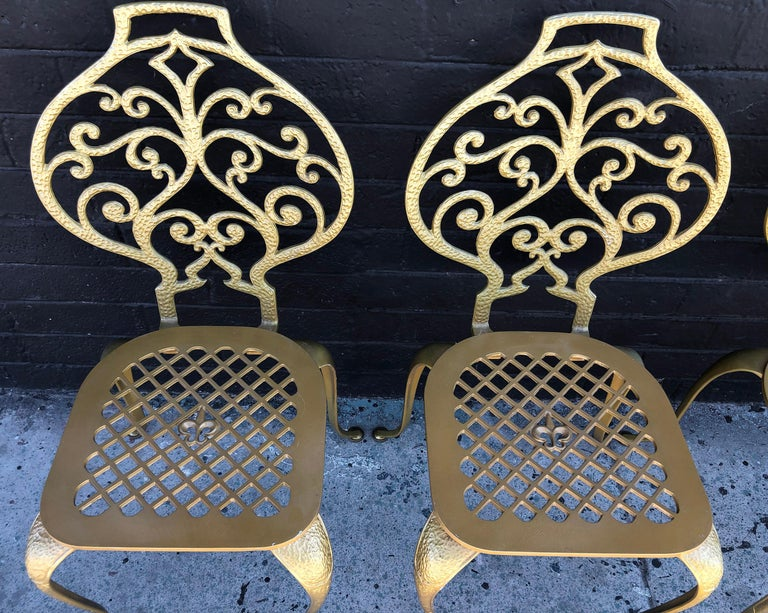 Mid-20th Century Set of 4 Gold Leafed Thinline Mfg Dining Chairs For Sale
