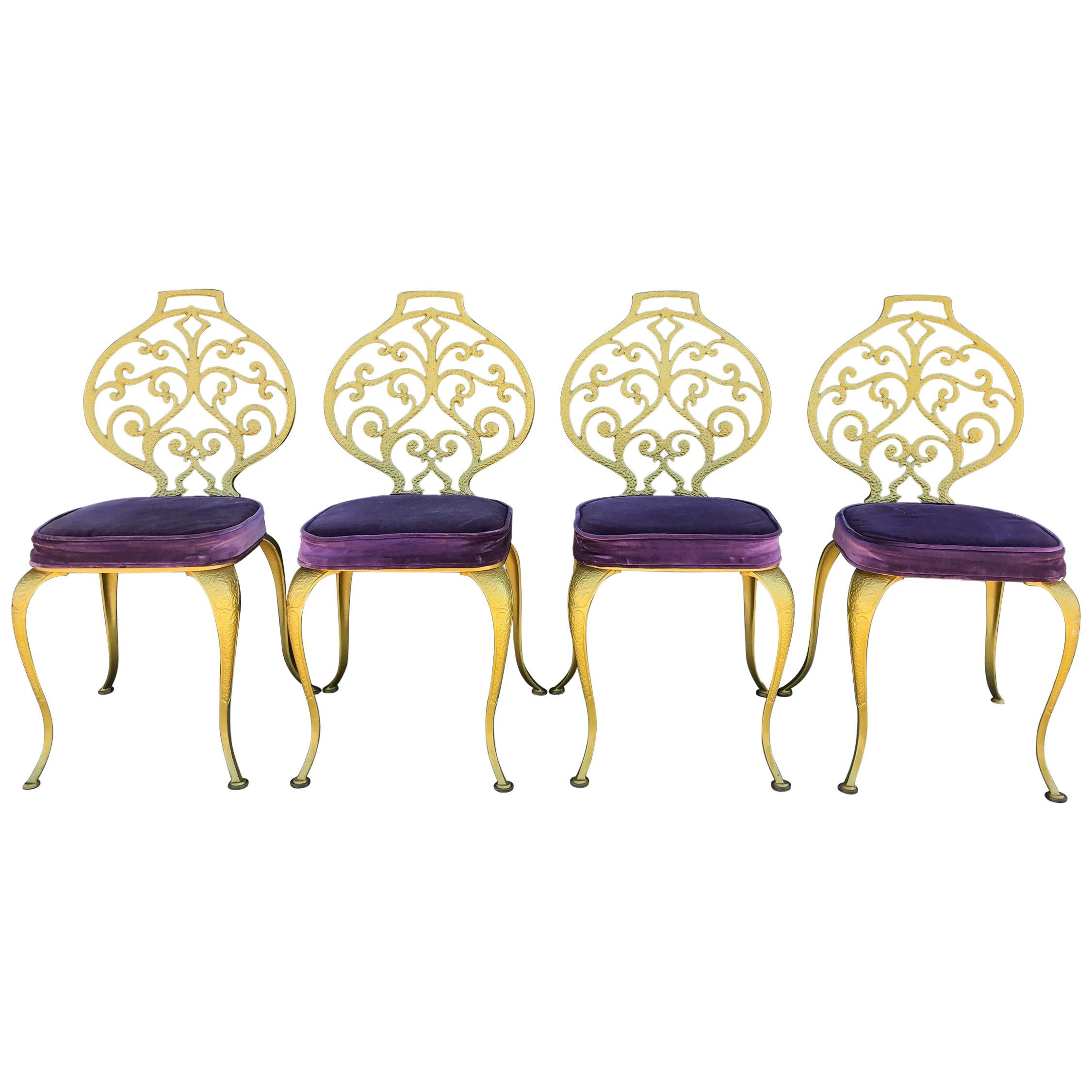 Set of 4 Gold Leafed Thinline Mfg Dining Chairs
